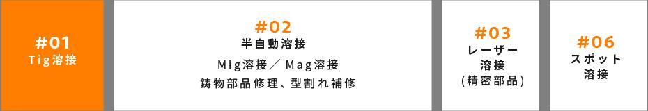#01 Tig溶接 | #02 半自動溶接 Mig溶接/Mag溶接 鋳物部品修理、型割れ補修 | #03 レーザー 溶接 (精密部品) | #06 スポット 溶接